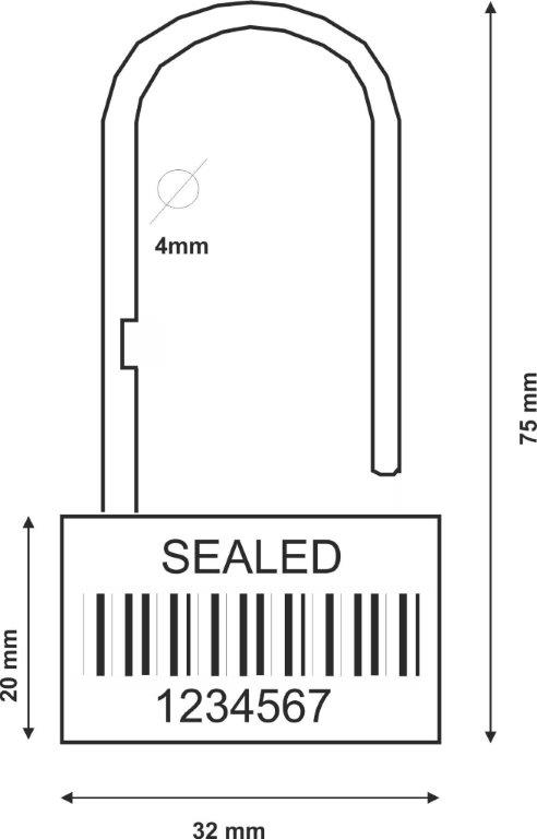 padlock Security seal Padlock type 160-4 mm