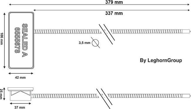 sigiliu din cablu rfid antitamper desen tehnic